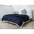 Double Bed Plaid Sherpa Fleece Blanket For Adults