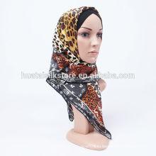 Новый 2014 элегантный шелковый саржевый коричневый lepoard abaya hijab