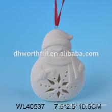 2016 Bulk modern white porcelain christmas hanging snowman