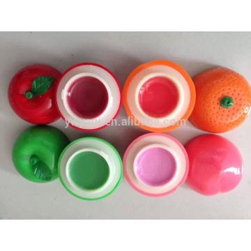 Popular Moisturizing Round Fruit Lip Balm Apple Peach Orange Shape with Different Flavor