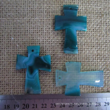 Teal Blue Agate Cross Pendant, Gemstone Cross Pendant
