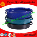 Blue Color MID-Size Carbon Steel Enamel Oval Roaster with Rack