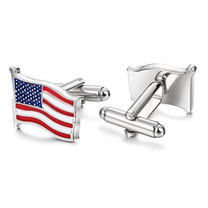 Fashion USA American Flag Silver Cuff Links