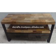 Industrial Urban Loft Tv Stand Mango Wood Top