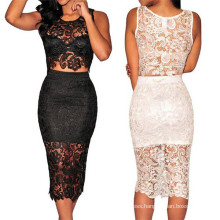 High Quality Two Piece Sexy Ladies Lace Prom Dress (50137)