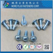 Hecho en Taiwán Acero de carbono IFI SPEC Acero al carbono C1022 PHIL Arandela redonda de la cabeza de la caja Harden tipo F Tornillo autoperforante