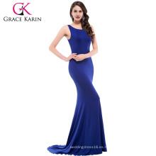 Azul vestido sexy o-cuello partido largo bandage delgado sirena vestido de mujer vestir CL009648-3