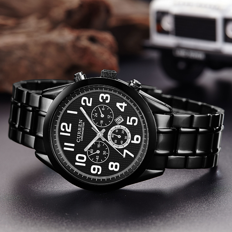 stainless steel belt quartz watch with date frame