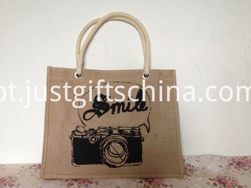 Promotional Logo Printed Jute Tote Bag (2)