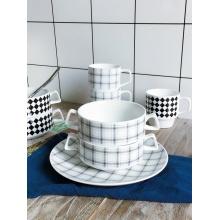 Creative Ceramic Double Handle Soup Bowl