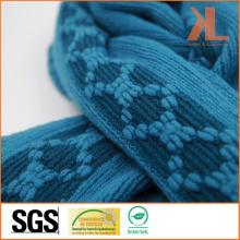 100% Acrylic Fashion Blue Diamond Warp Knitted Scarf with Fringe
