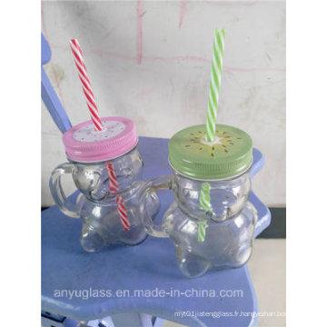 350ml Panda Shape Glass Mug pour le pot Mason Drinking