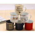 14cm(1400ml) full decal enamel mug with PE lid or metal lid