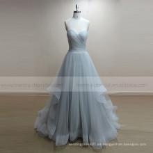 Open Back Sliver Tulle nupcial Boho Beach vestido de novia