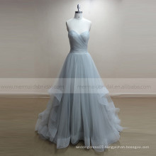 Open Back Sliver Tulle bridal Boho Beach wedding dress