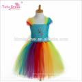 2017 new design custom made flower girl tutu dress colorful princess costume kids party wedding bridesmaid tulle dress