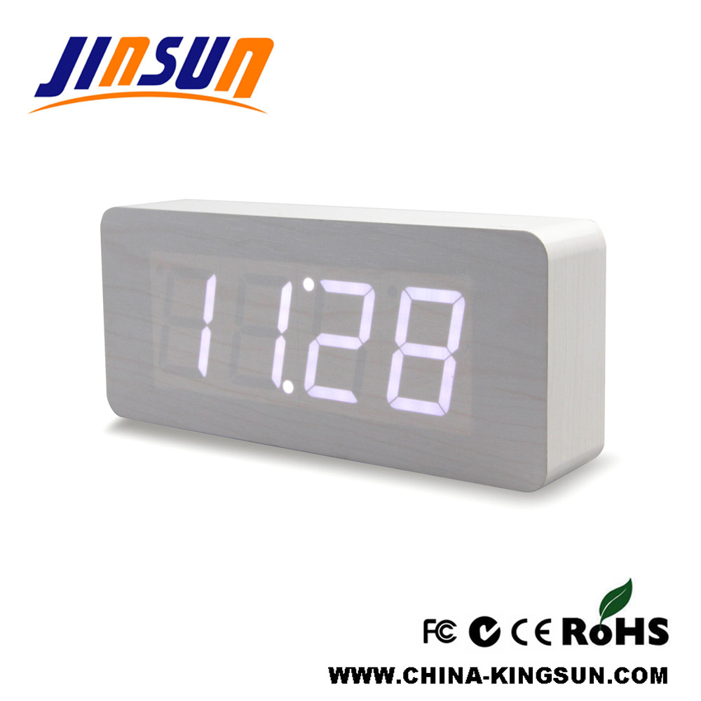 Rectangle Shape Wooden Table Alarm Clock Led Display