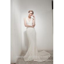 Mermaid Halter Neck Court Train com elegante vestido de casamento em renda AS30602