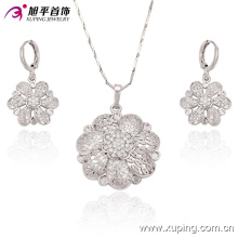 Flor de moda de lujo en forma de CZ Crystal Rhodium Jewelry Set para Wedding 63272