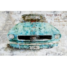 Ancient Antique Old Car Oil Painting on Canvas