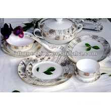 2014 new gorgeous embossed gold platinum design 12 15 24pcs new bone china dinner set porcelain ceramic cup & saucer