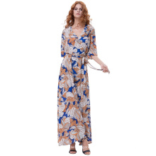 Kate Kasin Women's Summer 3/4 Sleeve V-Neck Tie-Waist Sexy Split Maxi Chiffon Vestido KK000702-3