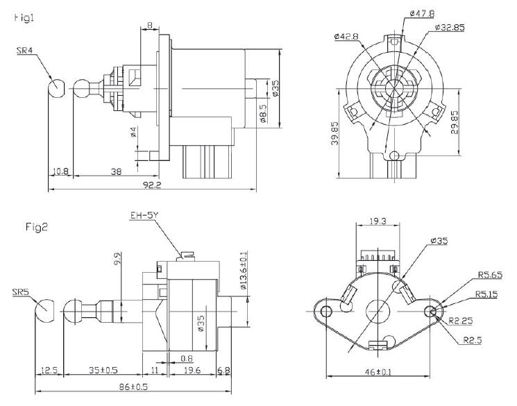 12V PM high torque stepper motors 35mm , 2 phase stepper motor