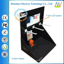 caja de exhibición de la cartulina plantilla pop con pantalla de 7 pulgadas en la parte superior