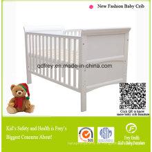 Cama de bebé de madera de pino macizo / cuna con cajón