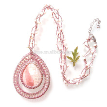 Hand Crochet Pink Natural Shell Drop Beaded Necklace