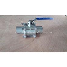 Bille en acier inoxydable 1000WOG longue tige de valve