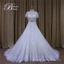 Robes de mariée à manches courtes dos ouvert
