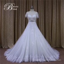 V Neck A Line Short Sleeve Appliques Wedding Dresses