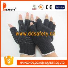 Luvas de algodão / poliéster com meio dedo preto Mini pontos de PVC (dkp518)