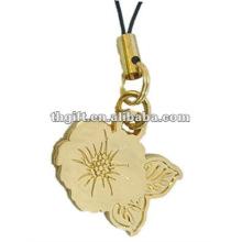 Fashional metal flower forma correias do telefone móvel