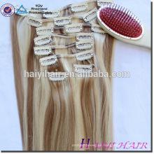Clip remy de la cabeza completa 220g sin procesar del pelo humano en extensiones del pelo rizado