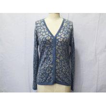 Damas de fábrica Jacquard hecho punto suéter de moda