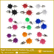 Plain Silicone Rubber Spike Ball Punk Rock Party Stud Earrings