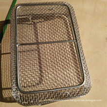 Surgical instrument stainless steel mesh tray for medical sterilization