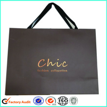 Skriv ut Logo Papper Shopping Bag Ribbon Handle