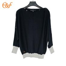 El último jersey a presión del suéter del invierno del corte del negro del diseño