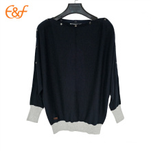 O último projeto Black Cut Winter Sweater Snap Pullover