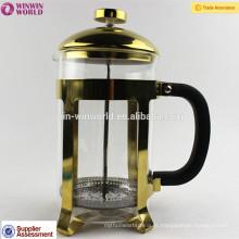 Venda quente de Alta Qualidade de Cobre-chapeamento de Aço Inoxidável Francês Imprensa Fabricante De Café com Inoxidável infusor de Aço