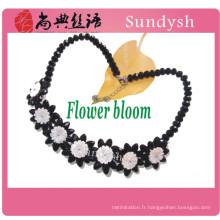 Chunky bavoir branché simple collier antique perlé victorienne grande déclaration en gros noir ruban diamant collier ras de cou 2014
