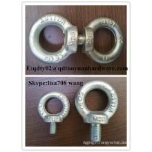 La haute résistance de l'acier au carbone a forgé le boulon galvanisé de levage de l'oeil DIN582