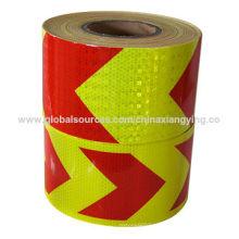 Projeto vermelho e amarelo do pente do mel Seta grande da fita de segurança reflexiva