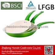 green frying pan with metallic paint coating