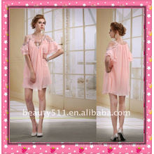 Astergarden New Design Emma Roberts Style Beaded Pink Chiffon Short Party Dress AS032-5