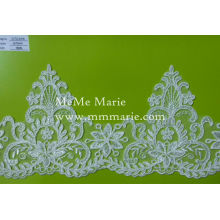 White Lace Fabric Knitted Guipure Lace Fabric with Leaves Trim CTC076
