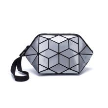 Trendy Travel Makeup Bag Ladies Dumpling Cosmetic Case Bag Custom Geometric Leather Women Zipper Make Up Bag